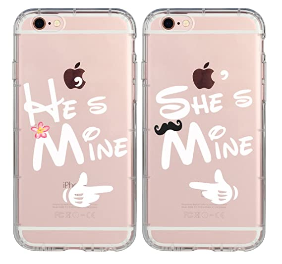 promo code bb66e 4abf5 Couple Cases for Her,Cute Couples Things for Girlfriend Boyfriend,He's Mine  She's Mine King Queen Couple Matching Pink Funny Soft Clear Love Forever ...