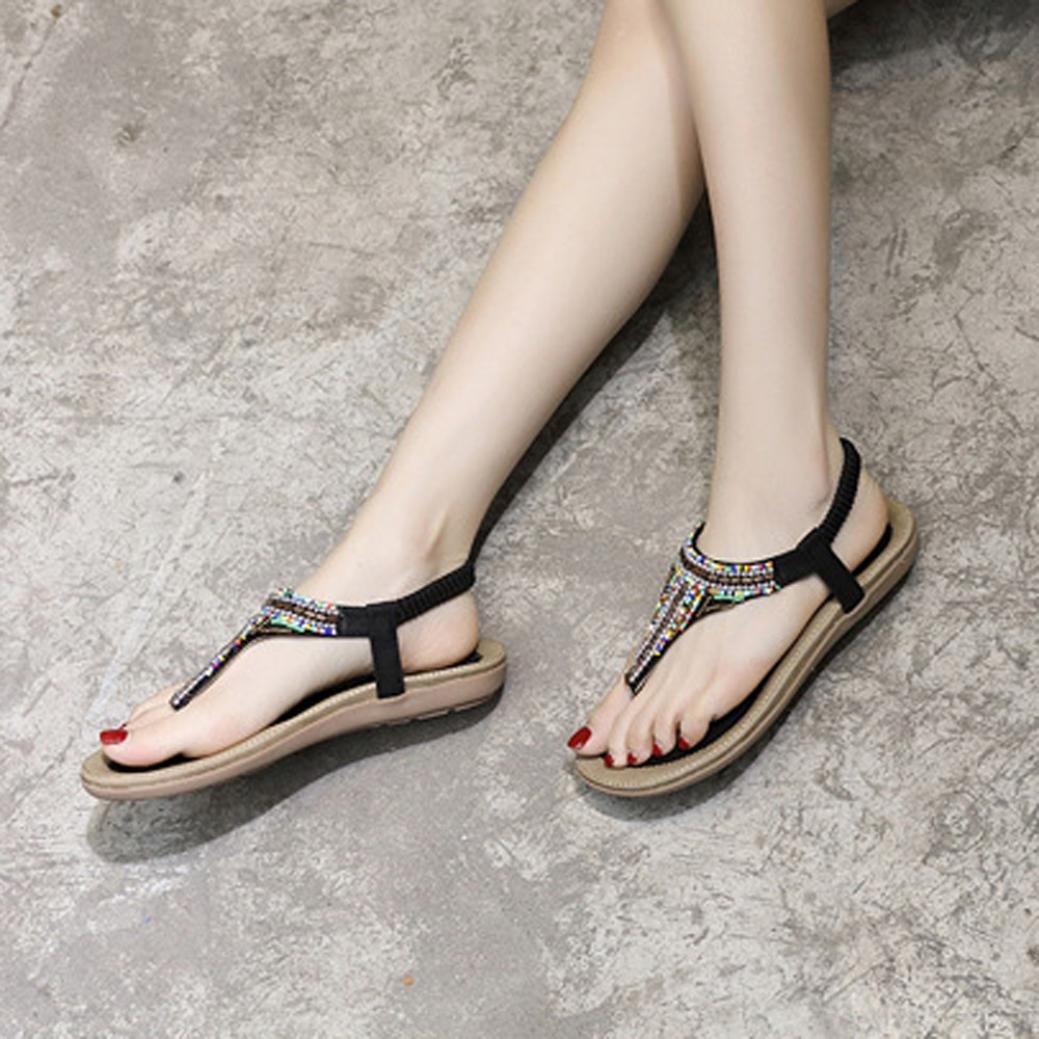 Womens Flat Sandalia Covermason Bohemia Leisure Bling Toe Post Sandalia plana Zapatos al aire libre(41 EU, Negro): Amazon.es: Ropa y accesorios