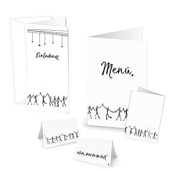 Set: 15 tarjetas de invitación, 25 tarjetas de mesa, 10 tarjetas de menú de corazón humanos ...