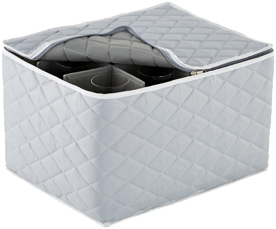 Grey Quilted Stemware Storage Case | The Container Store