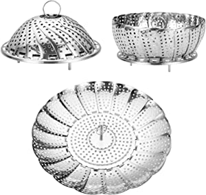 "Vegetable Steamer Basket, 100% Stainless Steel Steamer Insert for Instant Pots, Foldable Food Steamer Basket for Veggie, Fish, Boiled Egg, Seafood, Expandable to Fit Various Size Pot (5.5"" to 9.5"")"