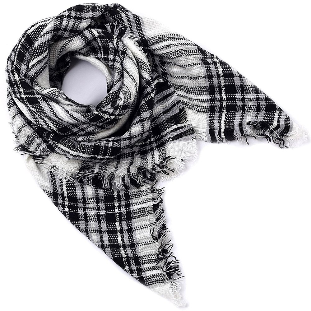 Women's Plaid Blanket Scarf Big Square Long Scarves Warm Large Tartan Checked Shawl
