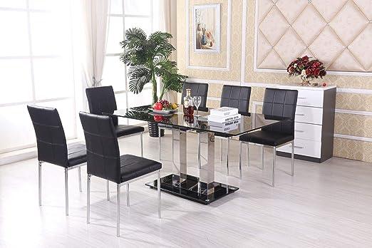 H Range UK Mayfair - Mesa de Comedor (Cristal, 6 sillas de Piel ...