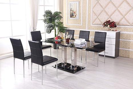 H Range UK Mayfair - Mesa de Comedor (Cristal, 6 sillas de ...