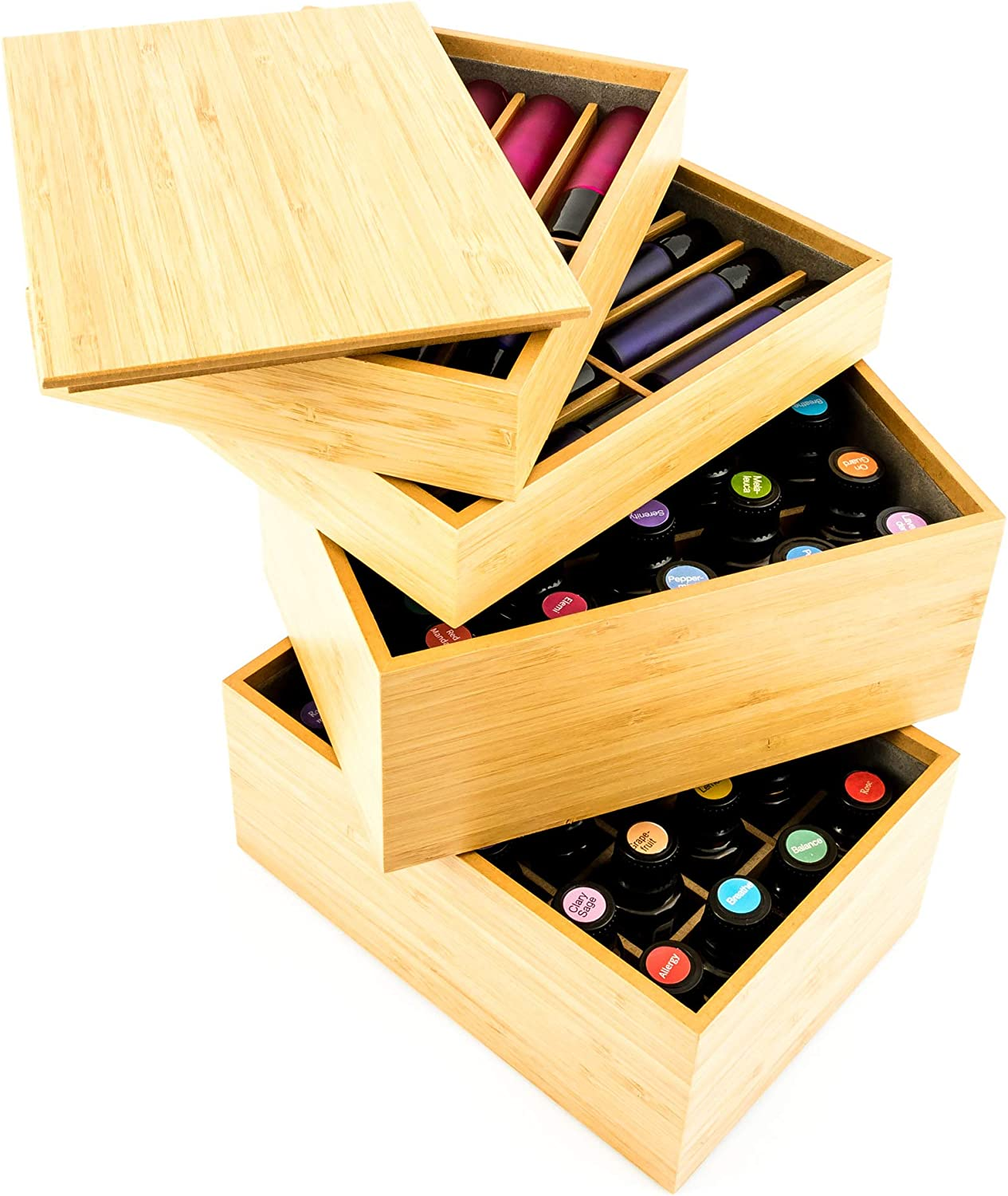 Large Essential Oil Storage Box Wooden Case Aromatherapy Oils Organizer Holder For Keeping Your Oils Safe Holds 5-10-15-30ml Bottles 4 Sizes 10 Grids