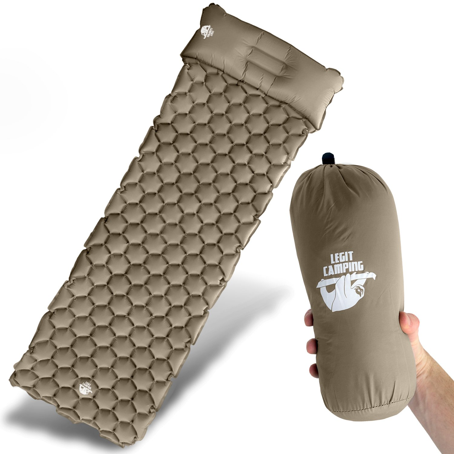 Legit Camping Sleeping Pad Camping Mat by The Most Comfortable Sleeping Mat - Rolls Up Tight - Air Support Cells Transform Your Camping Mattress and Camping Pad - Best Outdoor Sleep (Khaki) by Legit Camping