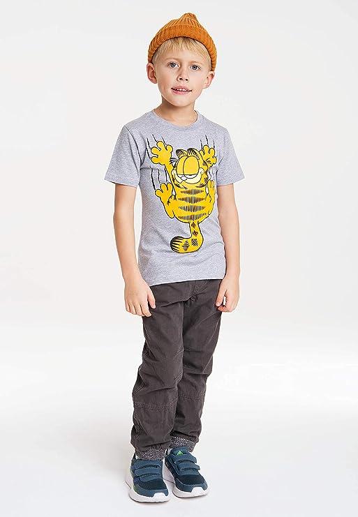 Gris Vigor/é Logoshirt Gato Garfield Dise/ño Original con Licencia Rasgu/ño Camiseta 100/% algod/ón ecol/ógico para ni/ño Comics