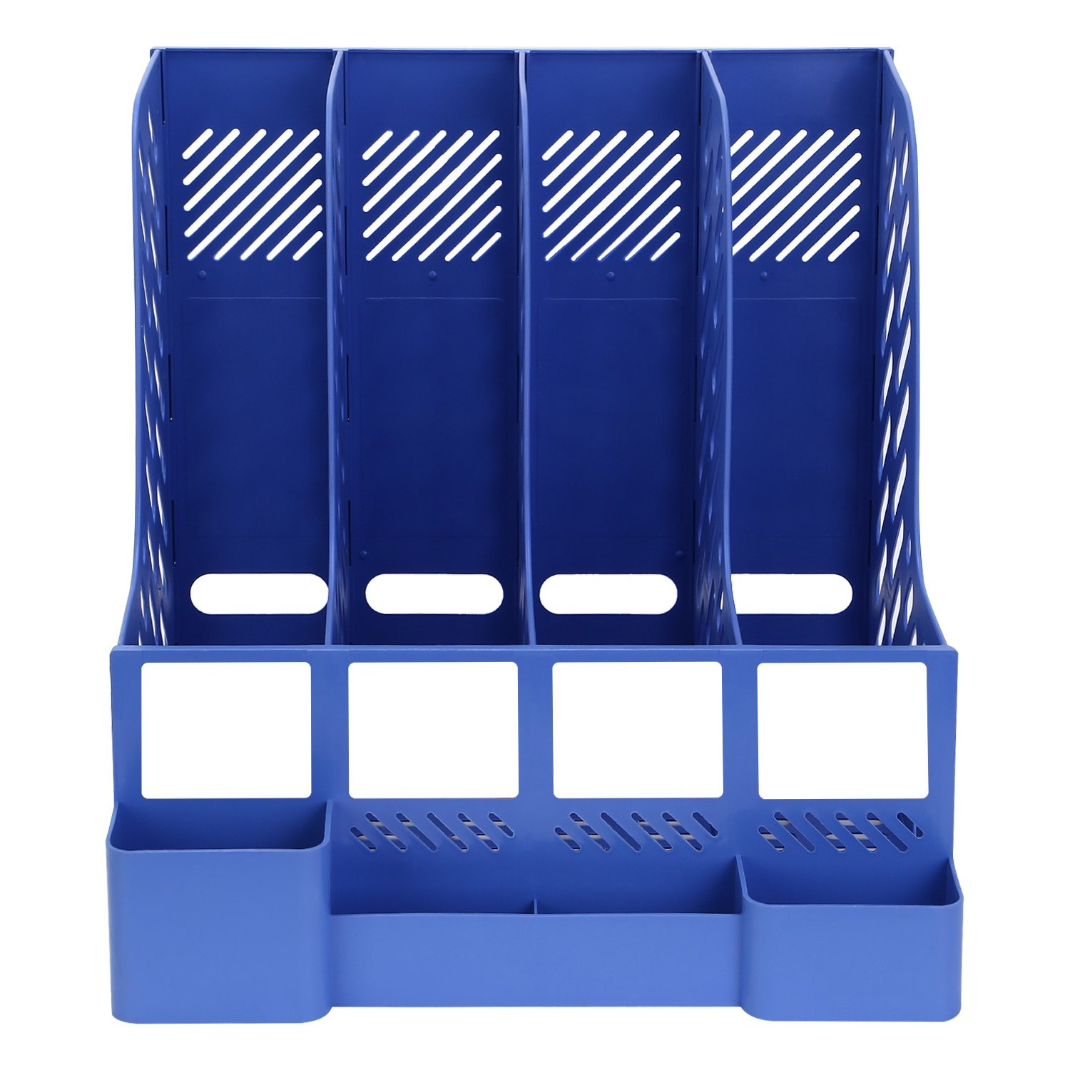 Amazon.com : TOROTON File Rack Holder, 4 Compartments Mesh Plastic Home Office Desk Book Sorter Storage Shelf, for Paper Magazine Documents and Books -Blue ...