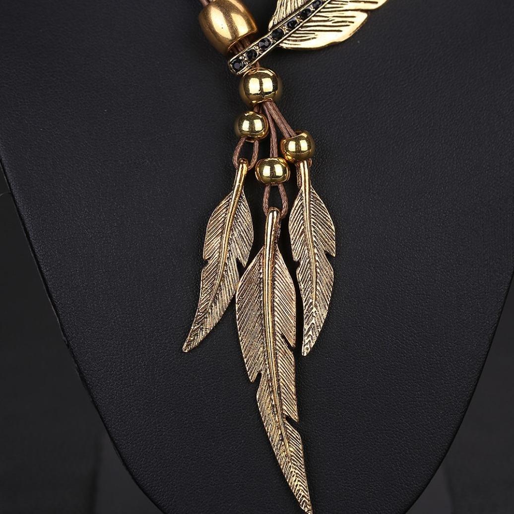 Amazon.com: Botrong - Collar con colgante de pluma, diseño ...