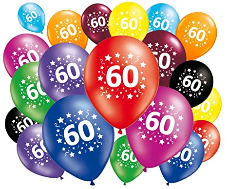 Image Pour Anniversaire 60 Ans.Fabsud Pack Of 8 Balloons Anniversaire 60 Ans Amazon Co Uk