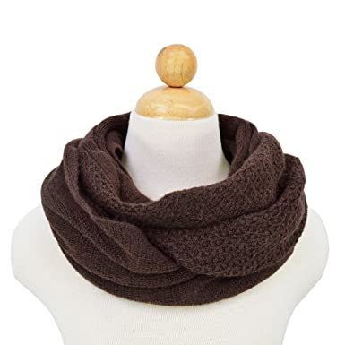 Premium Honeycomb Stitch Knit Infinity Loop Circle Scarf Brown At