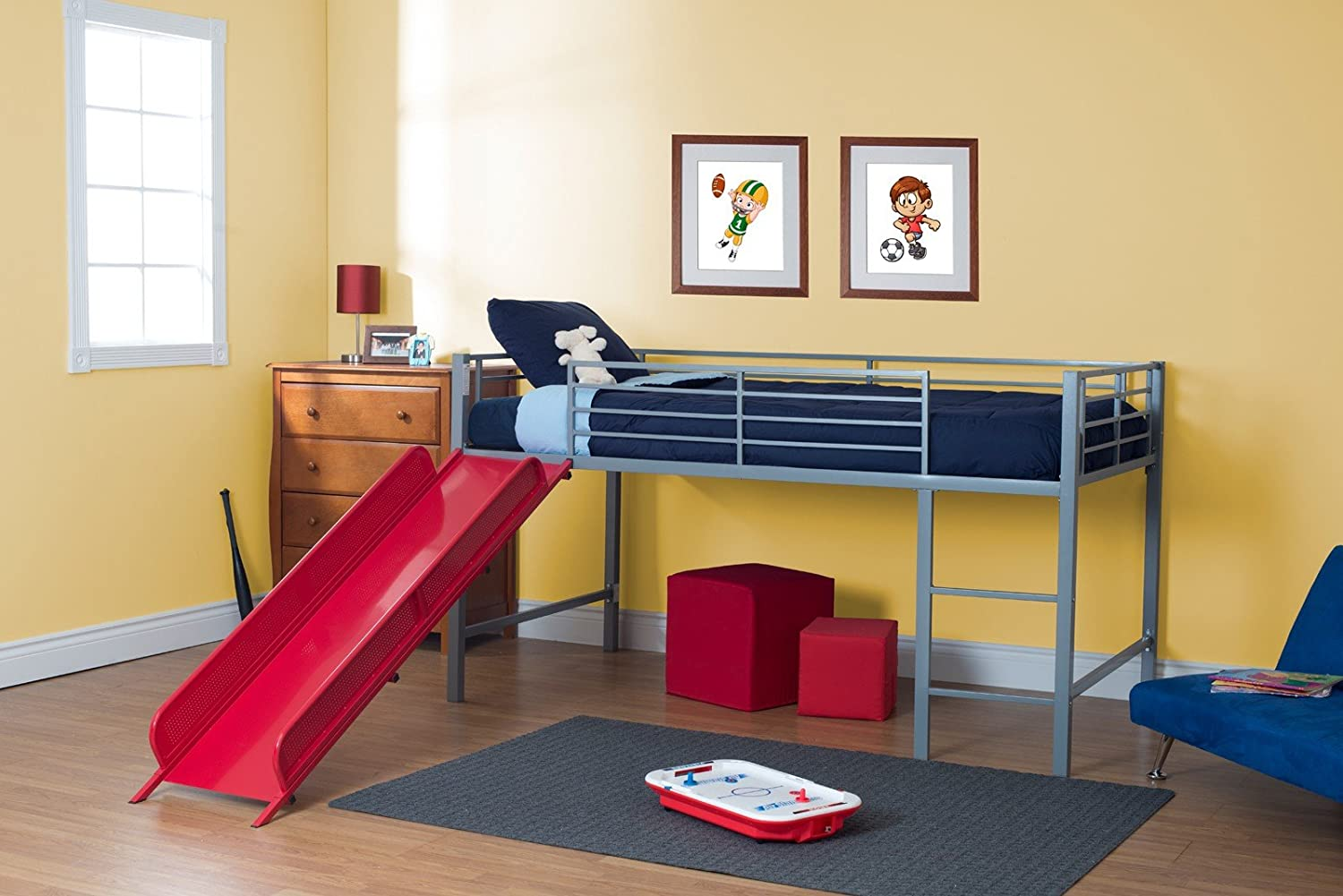 Twin Bed With Slide Part - 34: Amazon.com: DHP Junior Fantasy Loft Bed, Silver With Red Slide: Kitchen U0026  Dining