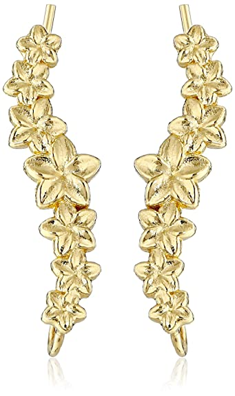 16d65f347 Image Unavailable. Image not available for. Color: The Ear Pin 18k Gold-Plated  Sterling Silver Hawaiian Plumeria Earrings