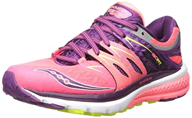 Saucony Women's Zealot ISO 2 Running Shoe, Coral/Purple/Cotton, ...