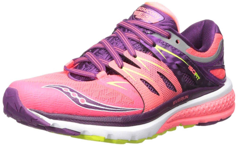 Saucony Women's Zealot Iso 2 Running Shoe, Coral/Purple/Cotton, 9.5 M US
