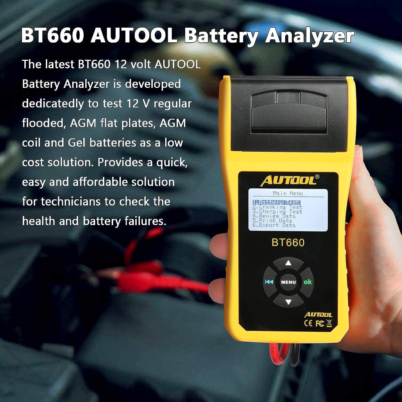 AUTOOL BT-660 12V/24V 100-3000 CCA - Analizador de batería automático para todos los coches y herramienta de diagnóstico de arranque y sistema de carga con impresora térmica integrada