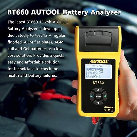 Autool BT-660 12V//24V 100-3000CCA Auto Battery Tester per Tutte Le Auto Cranking e Sistema di Ricarica Strumento diagnostico con Stampante Termica Integrata