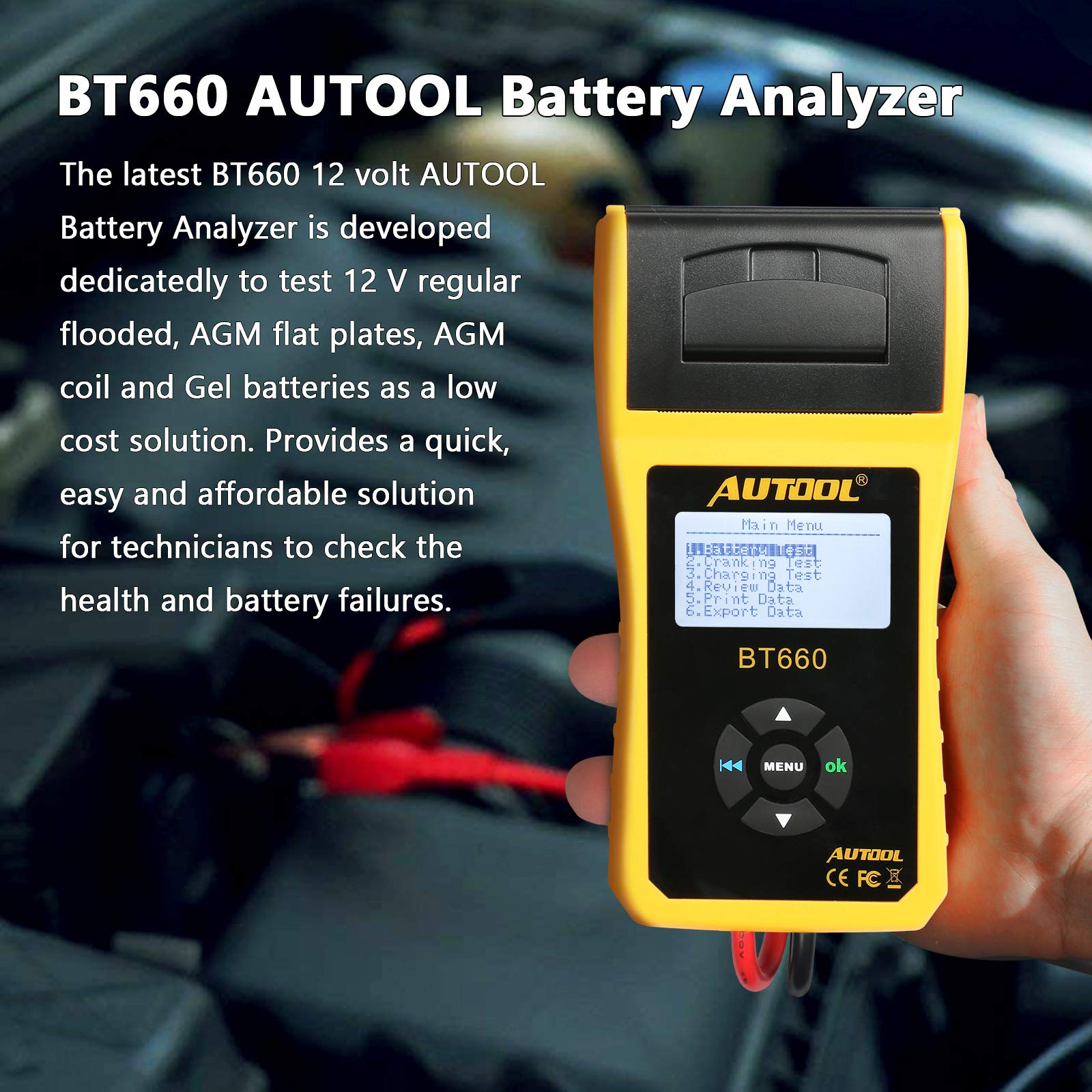 AUTOOL BT660 Battery Conductance Tester 12V/24V BT-660 Auto Battery Testers Automotive Diagnostic Tools for Heavy Duty Trucks, Light Duty Truck, Cars