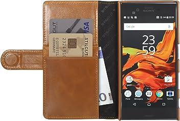 StilGut Custodia per Sony Xperia XZ/Xperia XZs a Portafoglio in Pelle, Cognac
