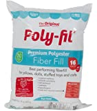 Fairfield PF16B Poly-Fil Premium Polyester Fiber, White, 1 Bag, 16-Ounce