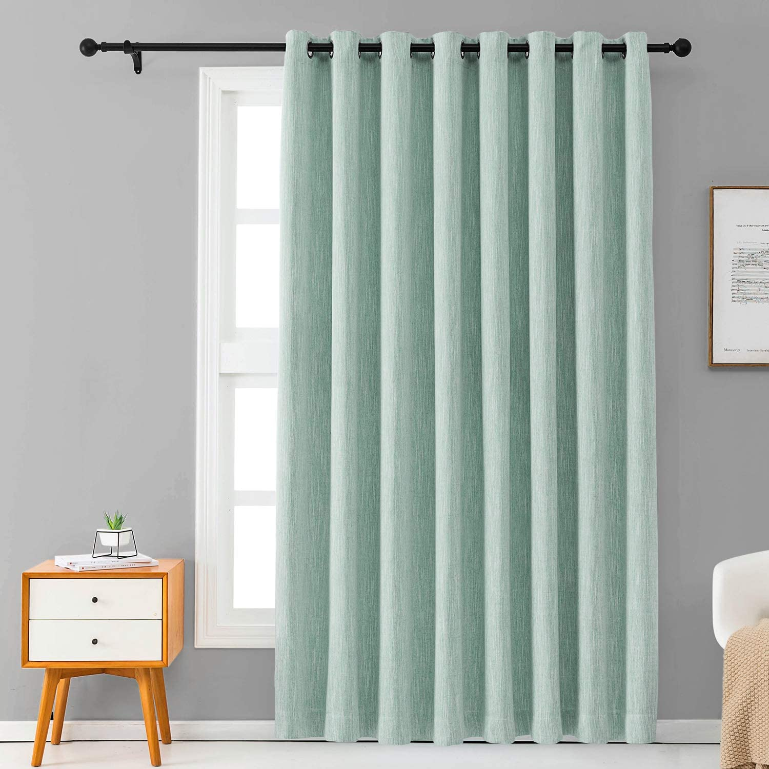 Melodieux Elegant Cotton Wide Blackout Curtains for Sliding Glass Door Living Room Thermal Insulated Grommet Drapes, 100 by 84 Inch, Blue (1 Panel)