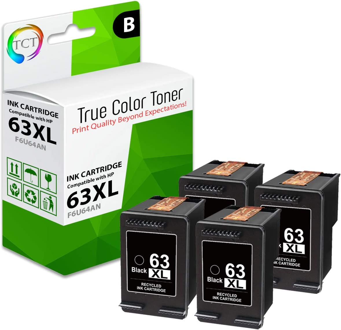 6 Black F6U64AN, 4 Tri-Color F6U63AN Envy 4520 TCT Compatible Ink Cartridge Replacement for HP 63XL 63 XL Works with HP Deskjet 1112 - 10 Pack Officejet 3830 Printers