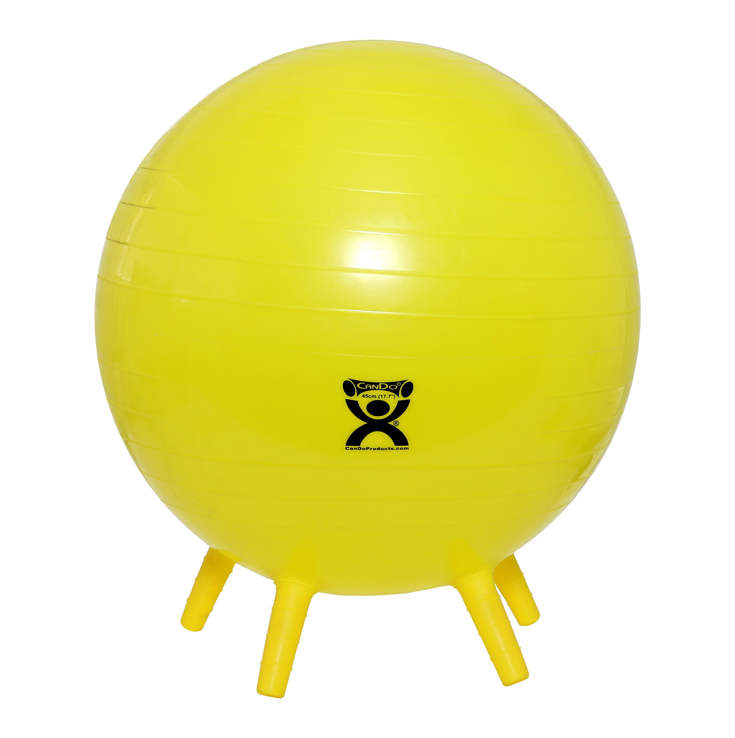 CanDo NonSlip Inflatable Exercise Ball with Stability Feet, Yellow, 17.7''