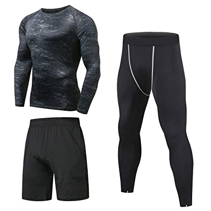 f2da8836541d1 Amazon.com : Niksa 3 Pcs Men's Workout Clothes Set with Compression Pants,  Sweat-Wicking Shirt and Loose Fitting Shorts : Clothing
