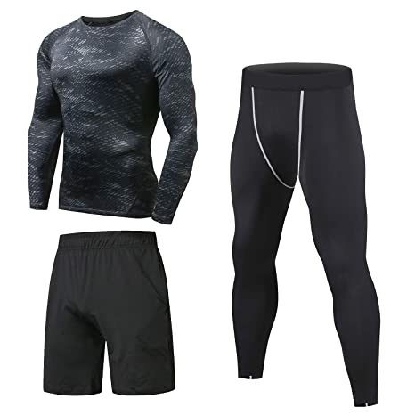 4352dfb67 Niksa 3 Pcs Mens Fitness Gym Clothing Set,Sports Wear Exercise Clothes Men  Activewear,Base Layers Shirts+Loose Fitting Shorts+Compression Pants for  Workout ...
