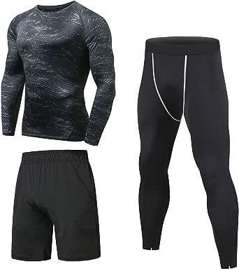 Niksa 3 Piezas Conjunto de Compresion Hombre, Camisetas Compression Mallas Running Pantalon Corto Deporte Ropa Deportiva Hombre para Running, Correr, Gym, Fitness
