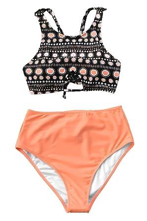 58a01f131 CUPSHE Women s Riddle Story Print Bikini Set Tie Back High Waisted Swimwear  (Small (USA