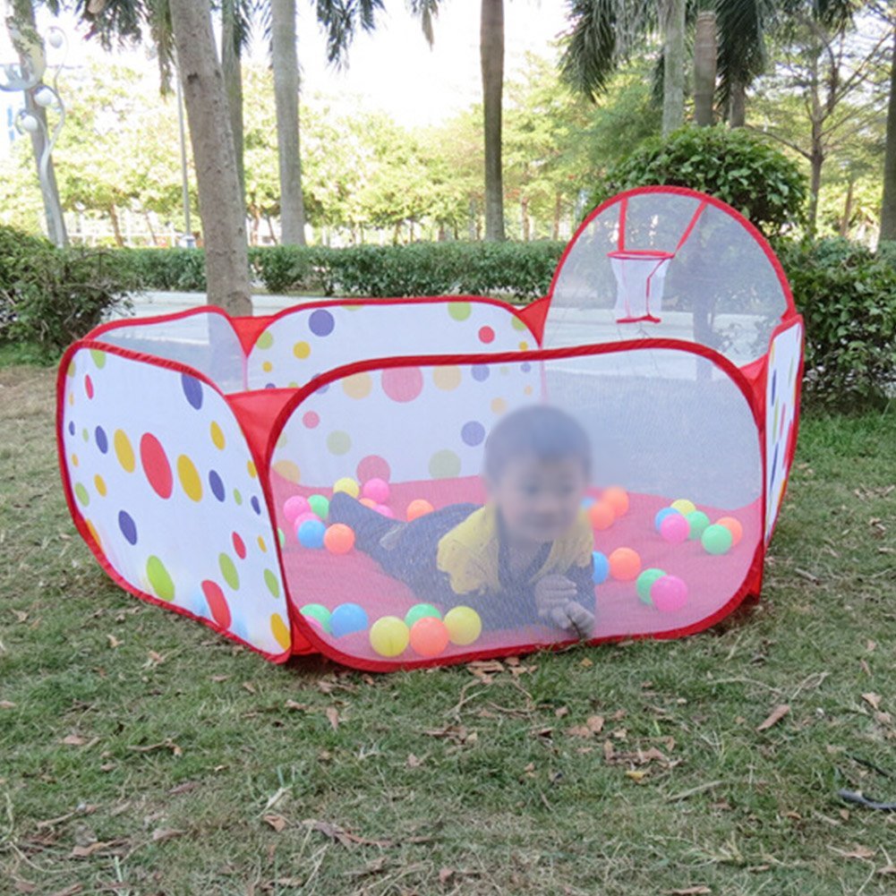 Amazon.com  Kids Ball Pit Playpen portable Folding Hexagon Polka Dot Play House Tent Children Toy with Basketball Hoop(The ball is not included)  Baby & Amazon.com : Kids Ball Pit Playpen portable Folding Hexagon Polka ...