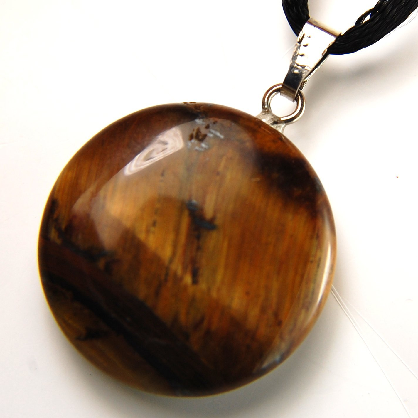 Steampunkers USA Celestial Collection - 20mm Full Moon Disc Tigers Eye Golden Brown, 20'' Adjustable Soft Black Poly Woven Washable Cord Stainless Bail – Natural Crystal Gemstone Carved Necklace Charm