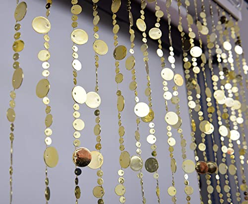 FlavorThings Gold Bubble Beaded Curtain 3' Wide x 6' Long Door String Curtain Wall Panel Fringe Window Room Divider Blind