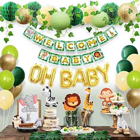 Woodland Shower Decorations Greenery Garland Forest Animals Theme Sweet Baby Co