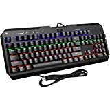 VicTsing 104 Keys Cool Backlit Mechanical Gaming Keyboard with Blue Switches, All-Key Anti-Ghosting, 9 Lighting Patterns, Attached Key Cap Puller, Ideal for Gaming and Typing