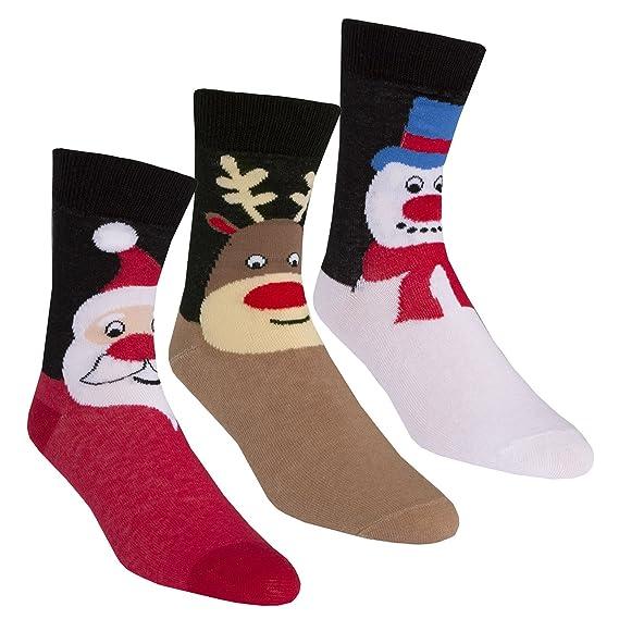 Calcetines navideños de Zest hechos de algodón, para mujer 3 Pack Brown Mix 32-36: Amazon.es: Ropa y accesorios