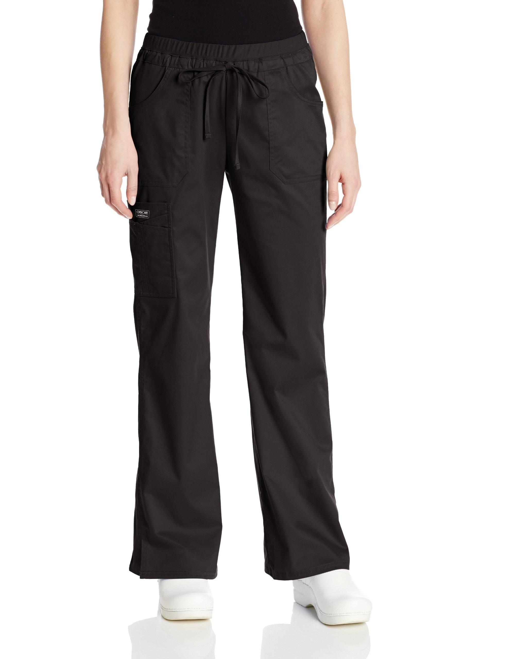 Cherokee Women's Workwear Scrubs Core Stretch Jr. Fit Low-Rise Cargo Pant, Black, Small