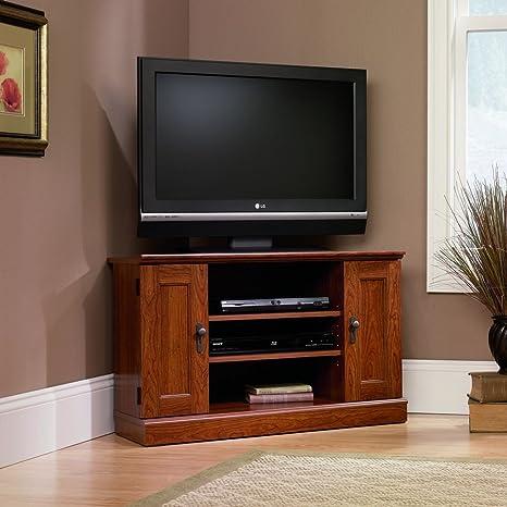 Amazon Com Sauder Camden County Corner Tv Stand Planked Cherry