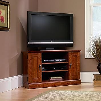 sauder camden county corner tv stand planked cherry finish