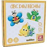 Brinquedo Pedagógico Madeira ABC dos Bichos 52 Peças Brincadeira de Criança