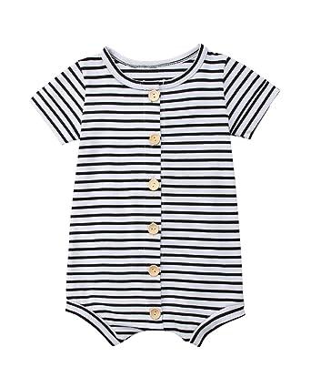 b49bc9887595 Urkutoba Infant Baby Boy Girl Short Sleeve Stripe Print Button Down  Bodysuit Jumpsuit Summer Casual Romper