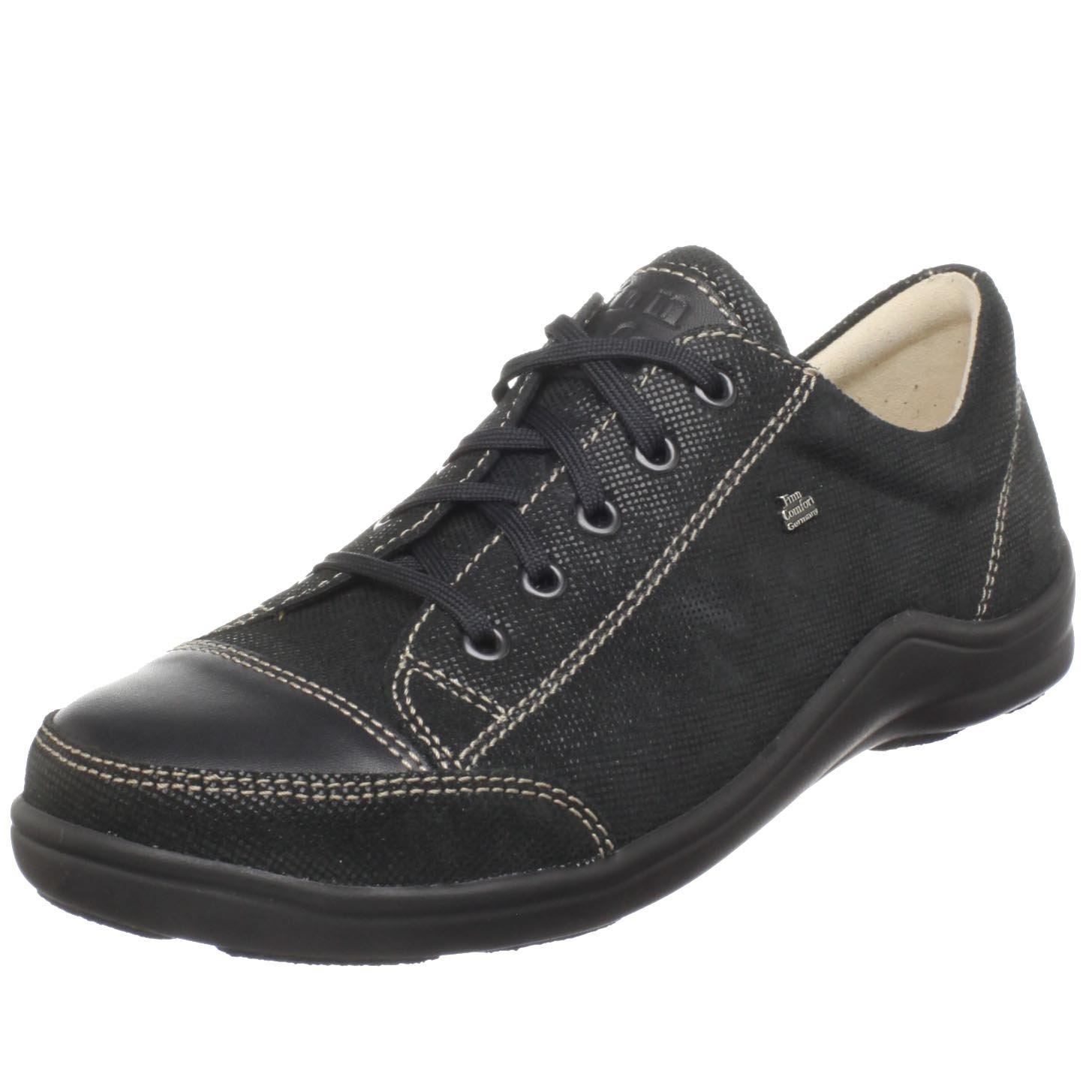 Finn Comfort Women's Soft Soho Fashion Sneaker B003GXFWQU 39 M EU / 8 B(M)|Black Minipoints/Nappa