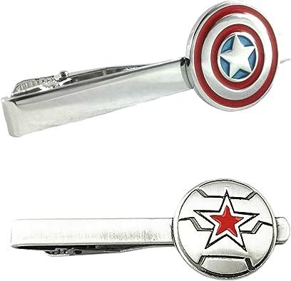 Outlander Marvel Comics – Juego de 2 broches de corbata para soldado de Capitán América y el