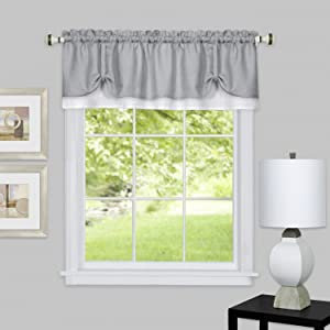 "Achim Home Furnishings DRVL14GW12 Darcy Window Curtain Valance, 58"" x 14"", Grey/White"