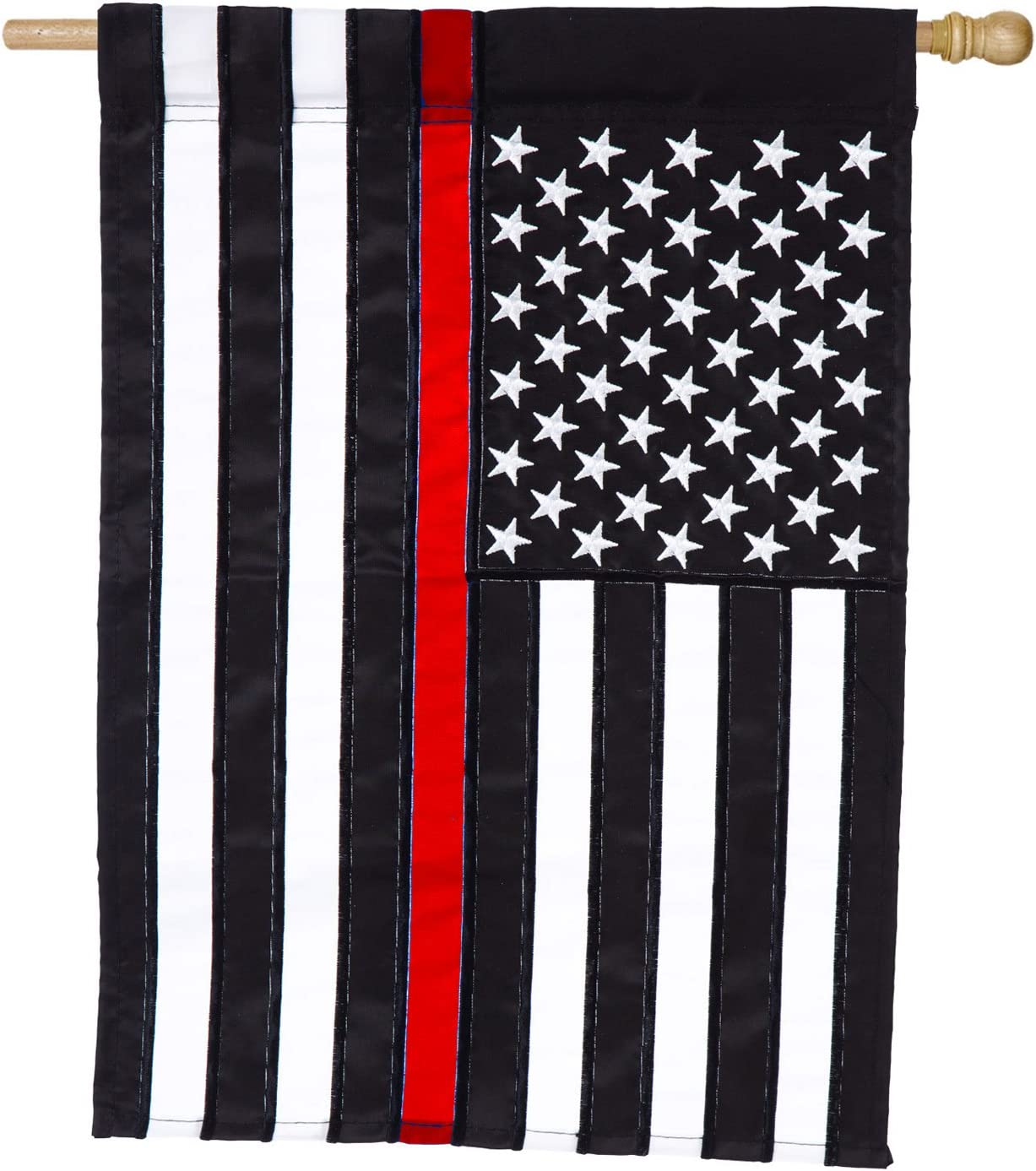 Evergreen Flag Thin Red Line Applique House Flag - 28 x 44 Inches Outdoor Decor for Homes and Gardens