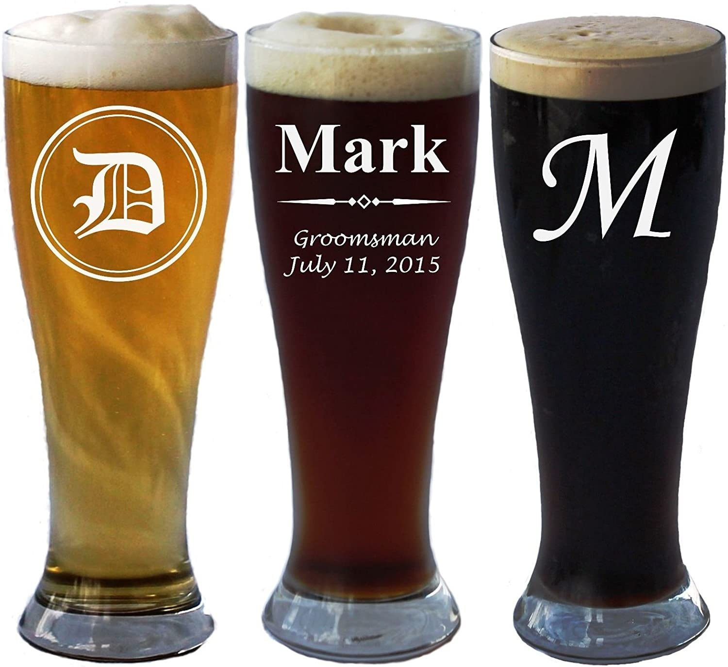 Amazon Com Personalized Pilsner Beer Glass 16 Oz Wedding Party Groomsmen Father S Day Gifts Custom Engraved Monogram Drinkware Glassware Barware Etched For Free Beer Glasses