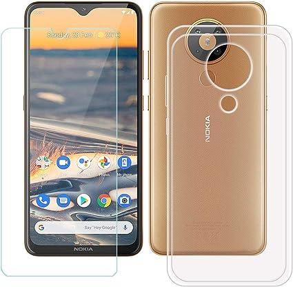 TTJ Transparent Coque pour Nokia 5.3 HD Verre Trempé Silicone ...