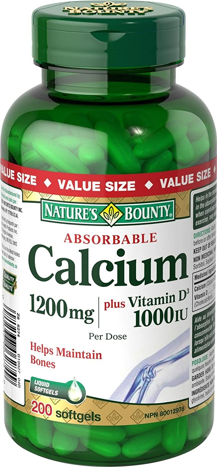 Nature's Bounty Absorbable Calcium Plus Vitamin D3 1200 mg, 200 Softgels