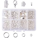 PandaHall Elite About 610 Pcs Jewelry Finding Kits 8 Styles Ribbon Clamp End, Jump Ring, Lobster Claw Clasps, Drop Ends Pieces Jewelry Making Silver